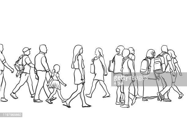 crosswalk people variety - clip art family stock illustrations