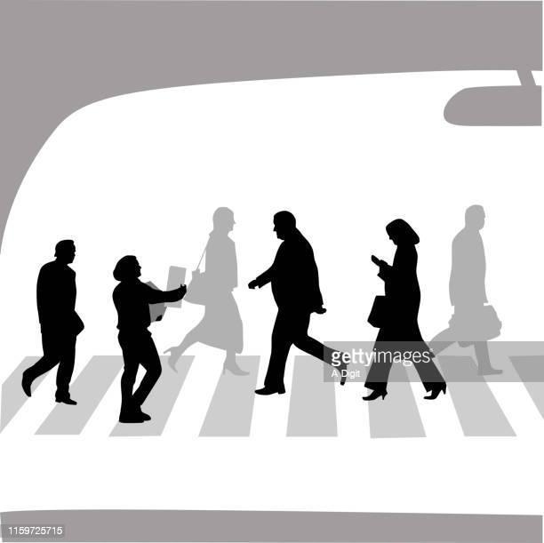 crosswalk - stranger stock illustrations