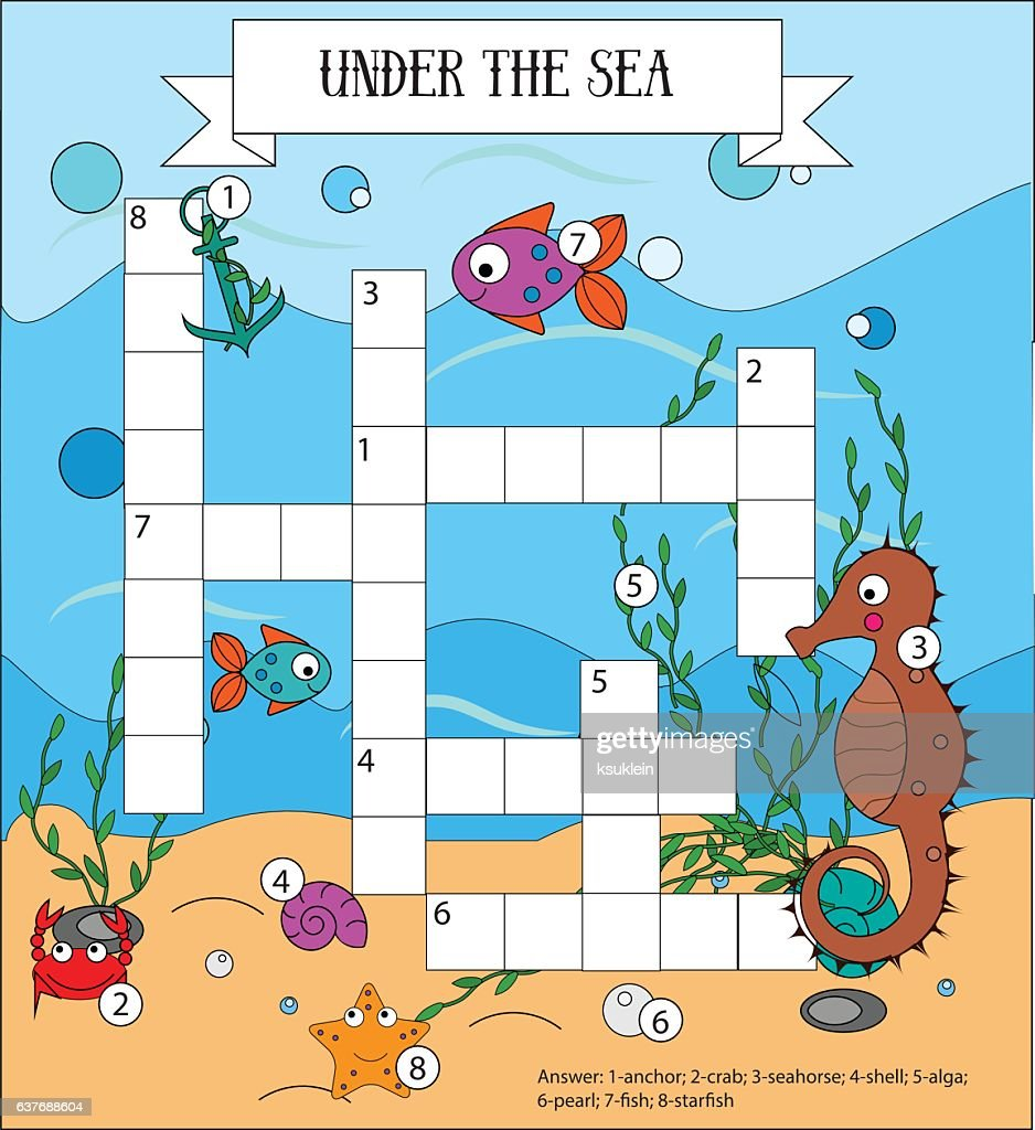 Crossword educational children game with answer. Sea, marine life and