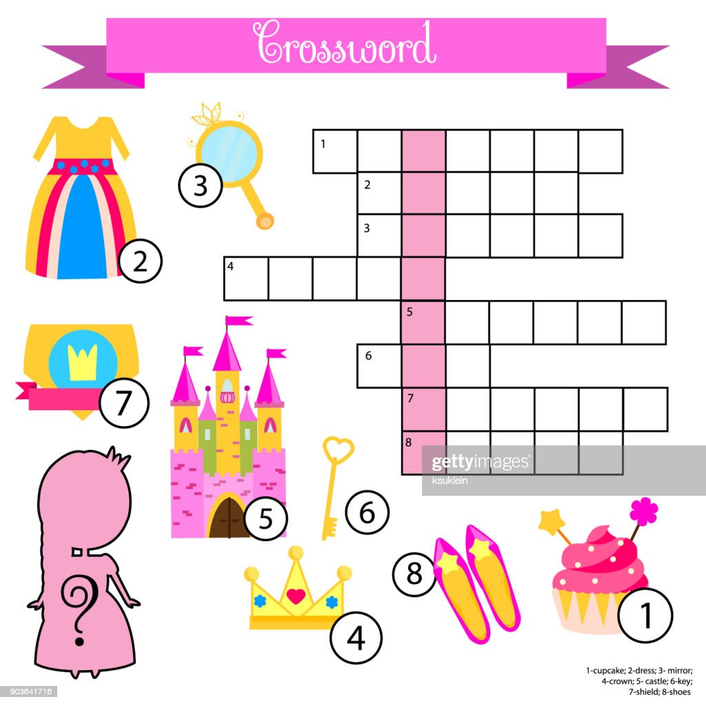 Crossword for girls. Educational children game with answer. Princess theme. Learning vocabulary