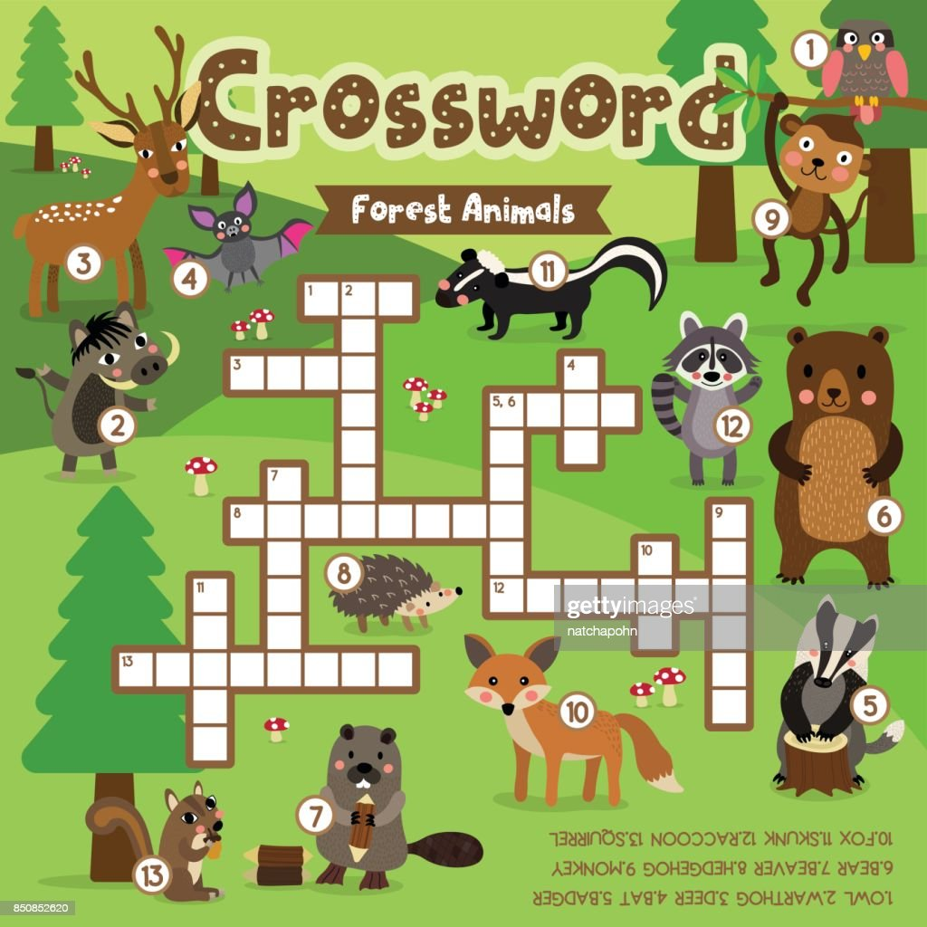Crossword puzzle forest animals