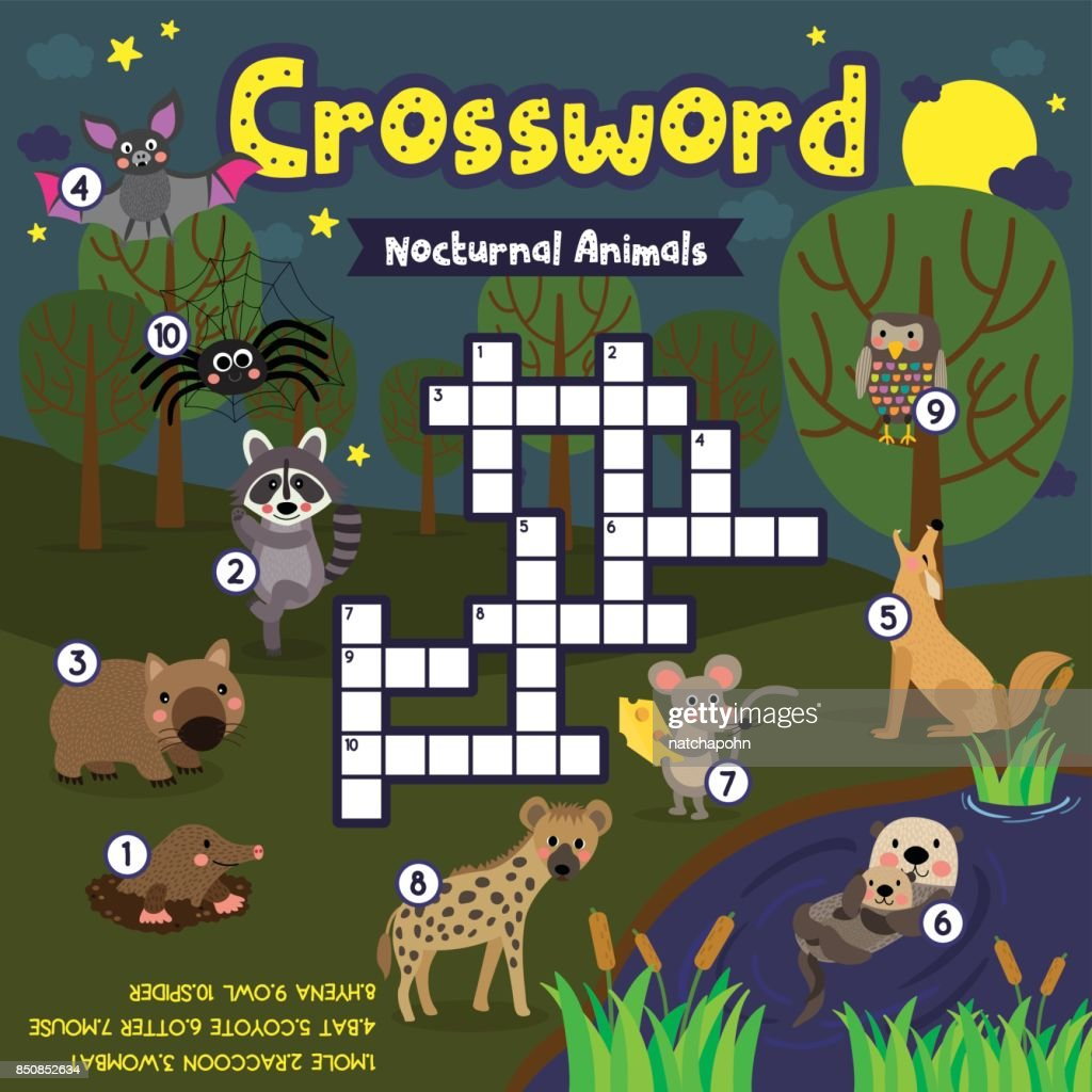 Crossword puzzle nocturnal animals