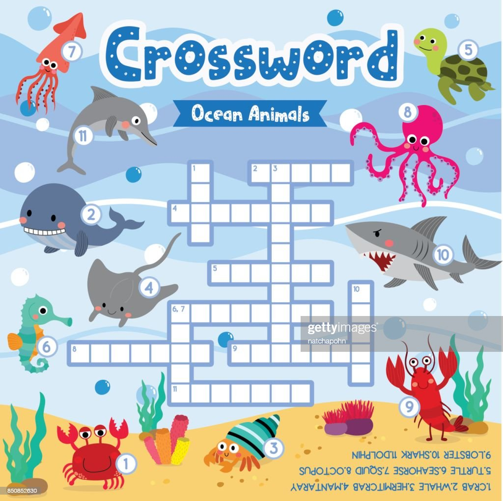 Crossword puzzle ocean animals