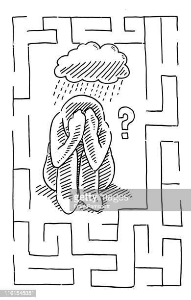 stockillustraties, clipart, cartoons en iconen met crouched down menselijke figuur depressie concept tekening - menselijke vorm