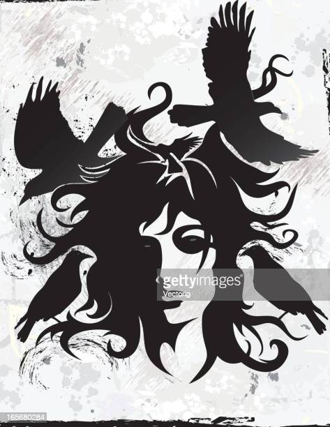 crow woman - goth stock illustrations, clip art, cartoons, & icons
