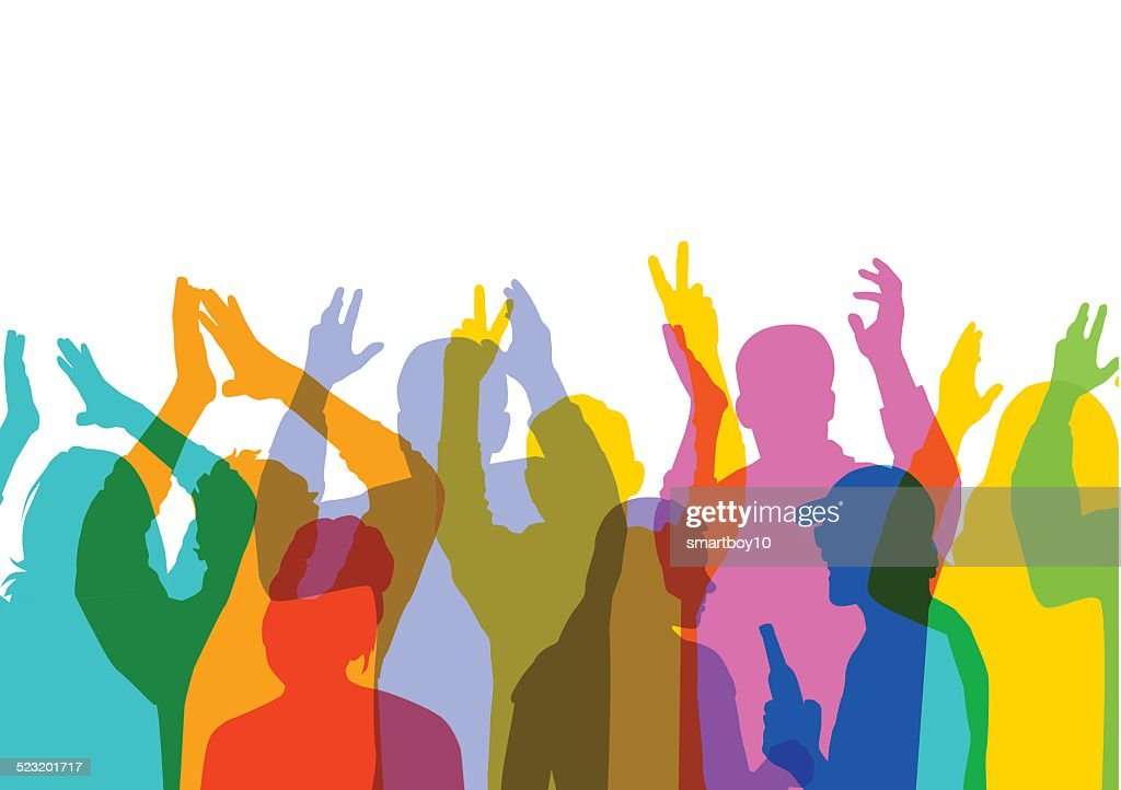 Crowd at music or sport event : Stock Illustration