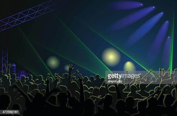 ilustraciones, imágenes clip art, dibujos animados e iconos de stock de multitud de conciertos - luz de escenario