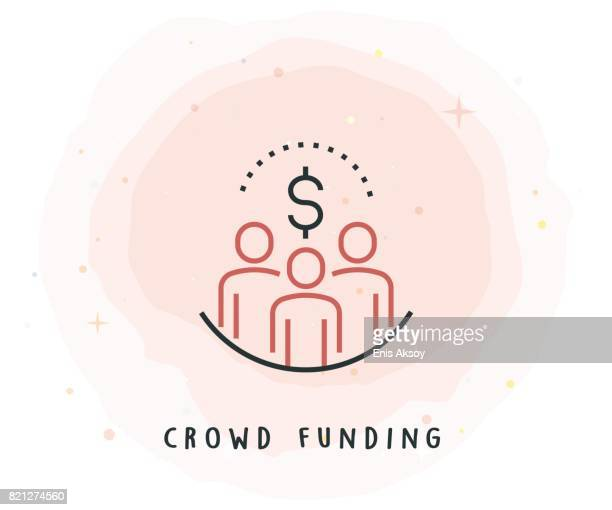 Crowd Funding Icon with Watercolor Patch