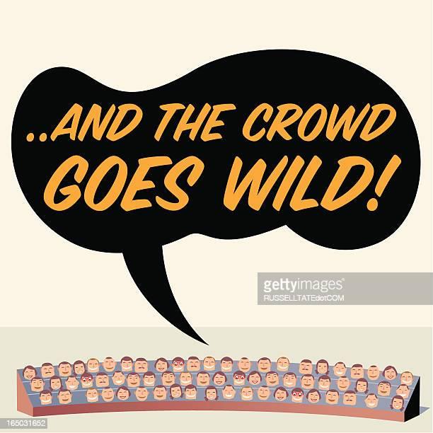 ilustraciones, imágenes clip art, dibujos animados e iconos de stock de multitud va wild. - gradas
