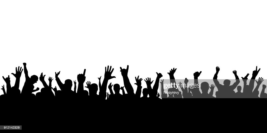 Crowd of applause at the concert isolated silhouette. Cheering people.