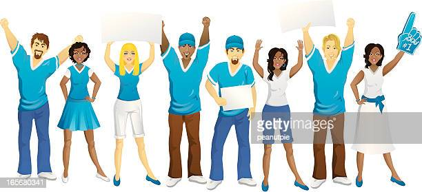crowd of blue fans - pep rally stock illustrations, clip art, cartoons, & icons