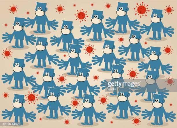 crowd of blue people wear medical face mask, concept of new coronavirus (flu, bacterium, virus, air pollution) quarantine - avian flu virus stock illustrations