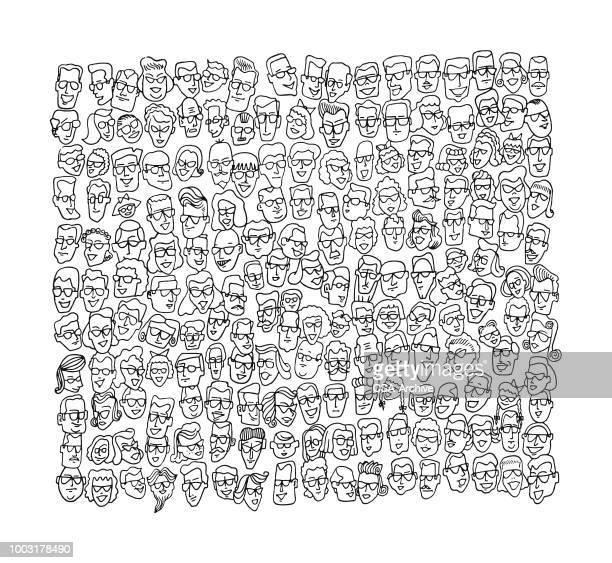 menge von gesichter - große personengruppe stock-grafiken, -clipart, -cartoons und -symbole