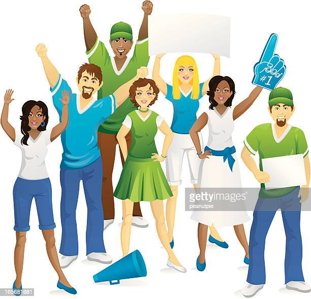 crowd of fans - pep rally stock illustrations, clip art, cartoons, & icons