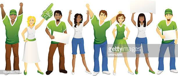 crowd of green fans - pep rally stock illustrations, clip art, cartoons, & icons