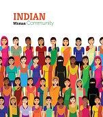 Crowd of Indian women vector avatars