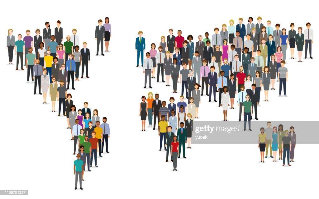 Menschenmenge von Menschen, die eine Weltkarte komponieren : Stock-Illustration