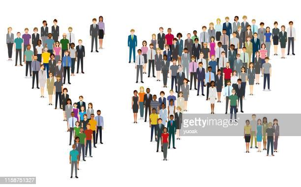 crowd of people composing a world map - international politics stock illustrations