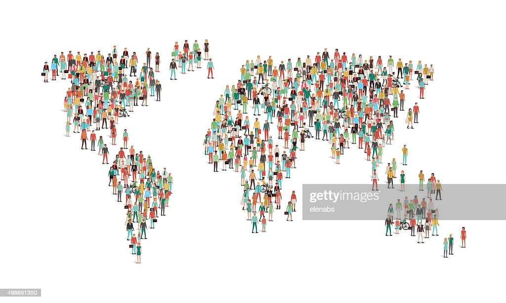 Crowd of people composing a world map