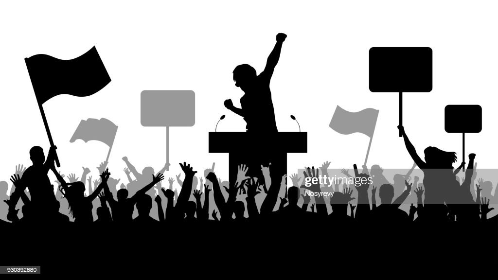 Crowd of people demonstrating silhouette. Oratory art, politics.