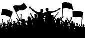 Crowd of people, friends at a party silhouette. Concert, festival, music. Cheer crowd people. Audience cheering applause. Cheerful sports fan. Mob soccer banner. Crowd with flags and banners