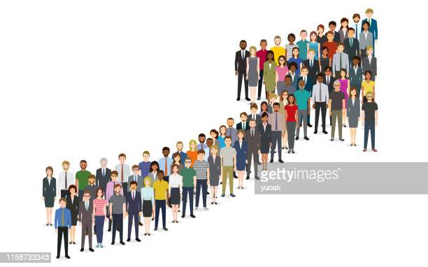 illustrazioni stock, clip art, cartoni animati e icone di tendenza di crowd of people gathered in a grossing arrow shape - esplosione demografica