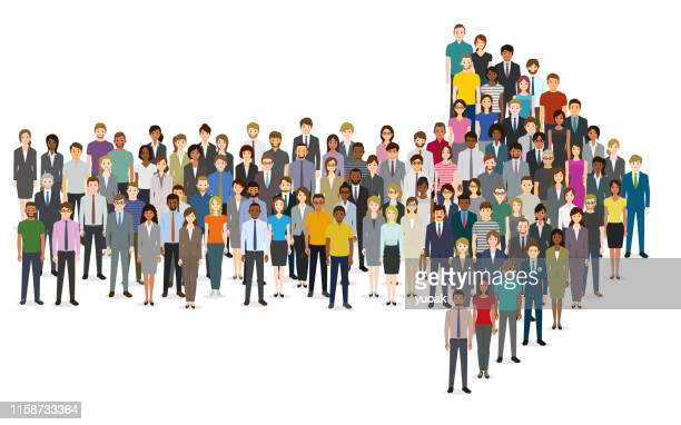 crowd of people gathered in an arrow shape - citizenship stock illustrations