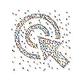 A crowd of people in the form of the cursor on white background. Vector illustration