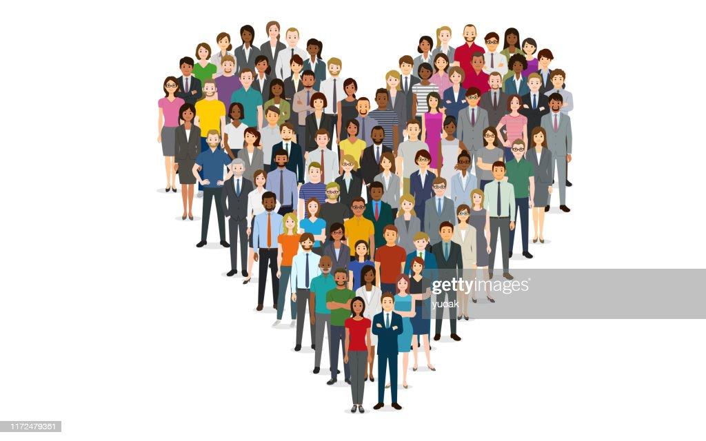 Menschenmenge in Form eines Herzens : Stock-Illustration