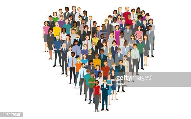 crowd of people in the shape of a heart - citizenship stock illustrations