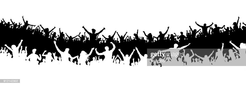 Crowd of people in the stadium. Crowd of sports fans. Silhouette vector. Banner, poster