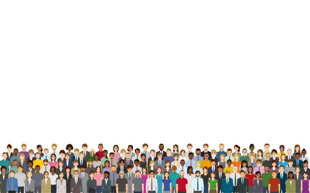 a crowd of people on a white background - cartoon stock illustrations