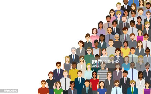 a crowd of people on a white background - businesswear stock illustrations