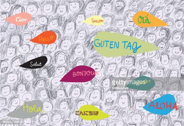 menge von menschen, die verschiedene sprachen sprechen - variation stock-grafiken, -clipart, -cartoons und -symbole