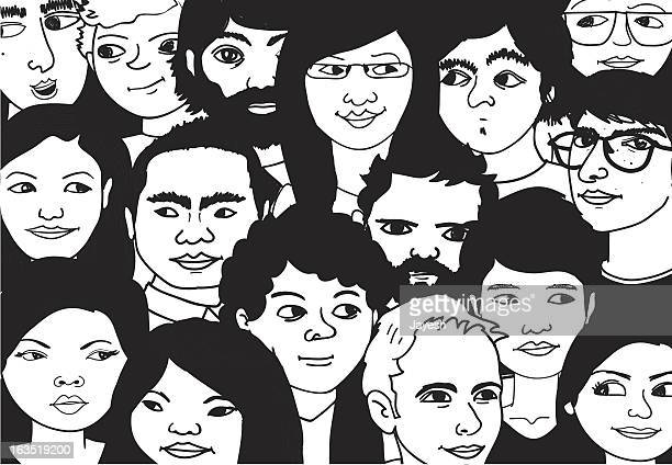 crowd of people - party social event stock illustrations, clip art, cartoons, & icons