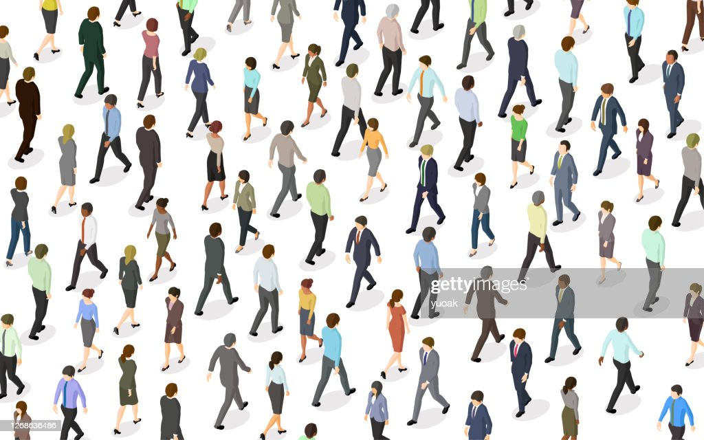Crowd of People Walking : stock illustration