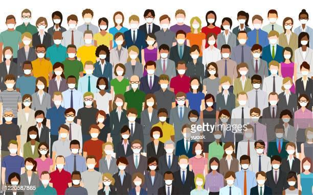 フェイスマスクを着用した大勢の人々 - マスク点のイラスト素材/クリップアート素材/マンガ素材/アイコン素材