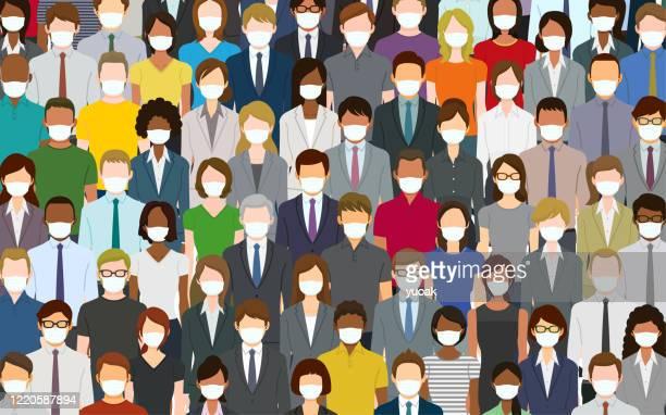 ilustrações, clipart, desenhos animados e ícones de multidão de pessoas usando uma máscara facial - female surgeon mask