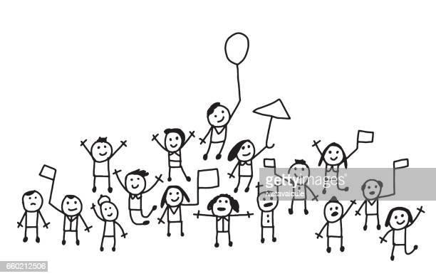 mit fahnen und ballons jubelnden menschenmenge - strichmännchen stock-grafiken, -clipart, -cartoons und -symbole