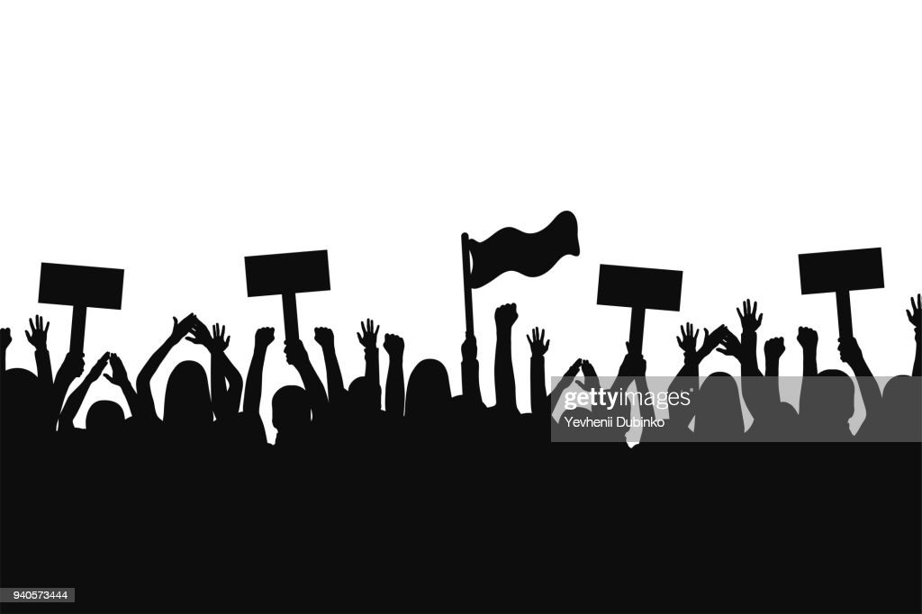 Crowd of protesters people. Silhouettes of people with banners and with raised up hands. Concept of revolution and political or social protest