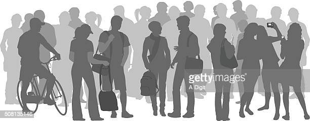 crowd of students in grey silhouettes - camera stand stock illustrations, clip art, cartoons, & icons