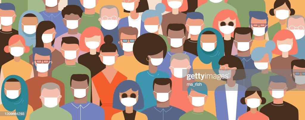Menigte op straat dragen maskers om ziekte te voorkomen, coronavirus, griep, luchtvervuiling, verontreinigde lucht, wereldvervuiling. Vectorillustratie in een platte stijl : Stockillustraties