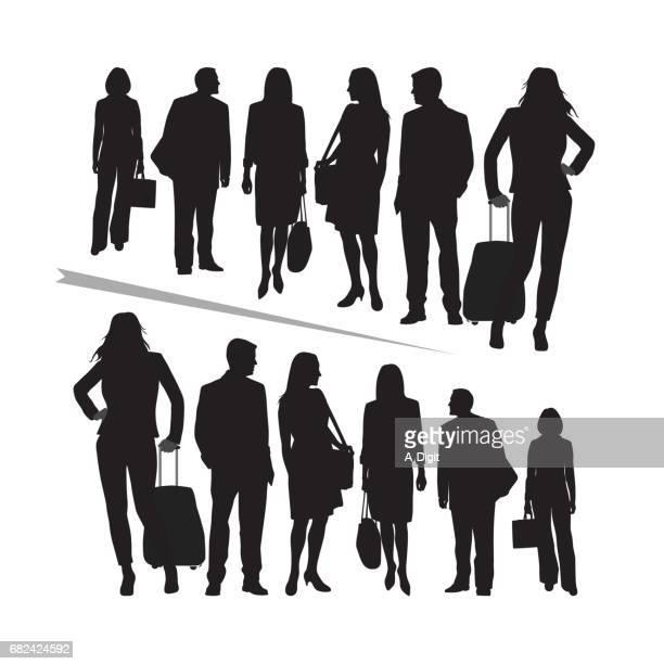 crowd power - pant suit stock illustrations
