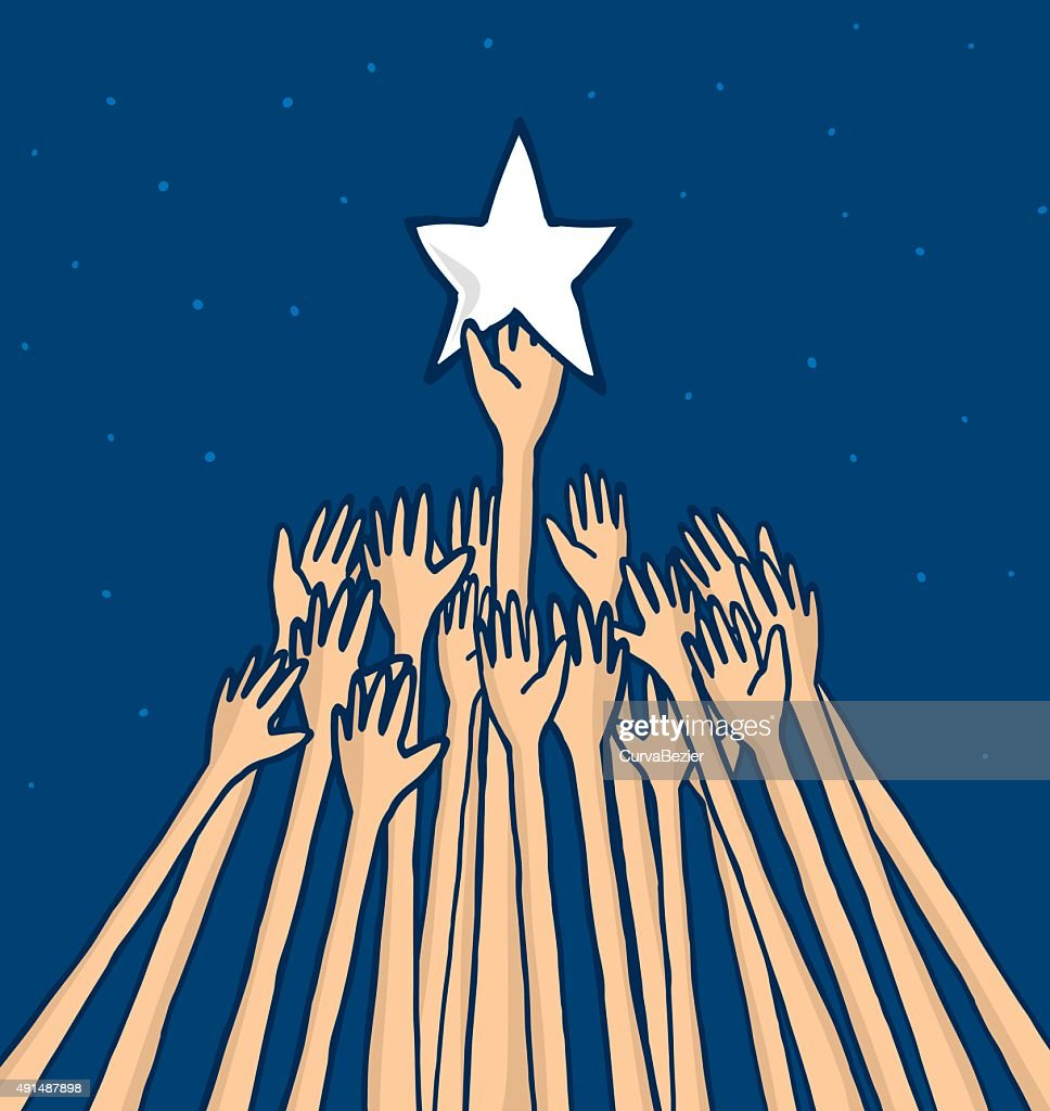 Crowd struggling to catch a star or reaching a dream