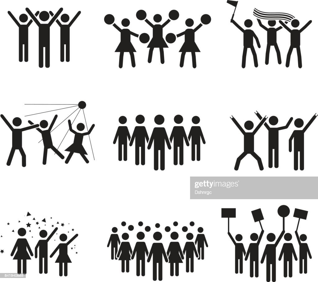 Crowd vector icon set design, illustrations of various groups of people