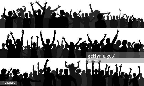 crowd (people are complete- a clipping path hides the legs) - applauding stock illustrations, clip art, cartoons, & icons
