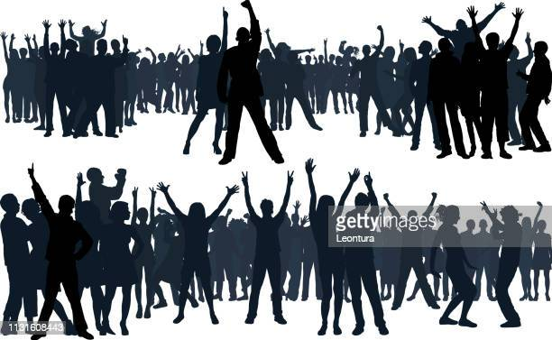 crowd (all people are complete and moveable) - protestor stock illustrations, clip art, cartoons, & icons