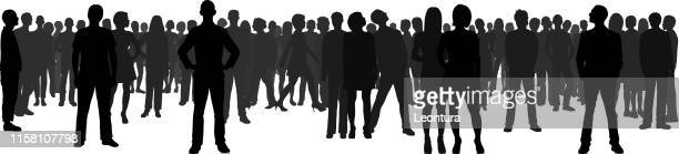 crowd (all people are complete and moveable) - businesswear stock illustrations