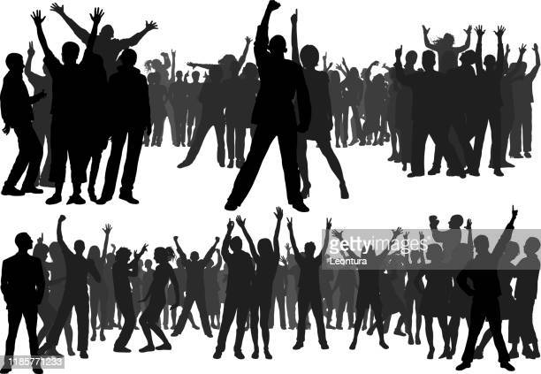 crowd (all people are complete and moveable) - protest stock illustrations
