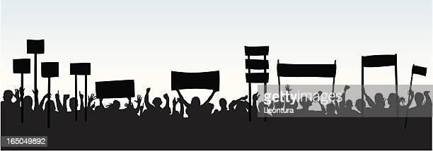crowd - protestor stock illustrations, clip art, cartoons, & icons